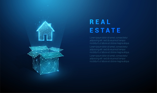 Abstract blue open box and house icon