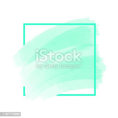 Abstract Blue Paint Brush Stroke with Frame Isolated on White Background. Design Element for Greeting Cards and Labels. Abstract Modern Blue Background.