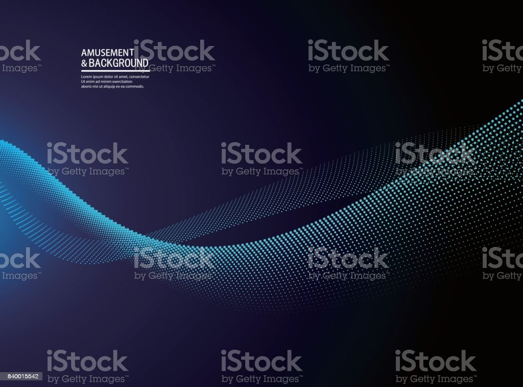 Abstract blue particle background vector art illustration