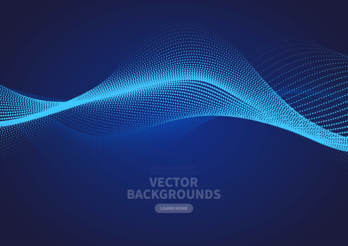 Abstract blue particle ripple vector design