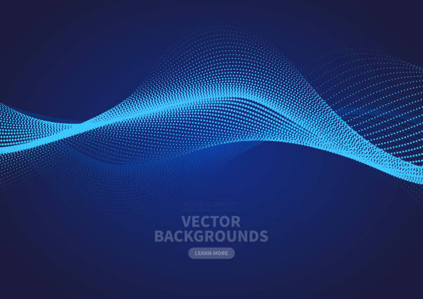 Abstract blue particle ripple vector design Abstract blue particle ripple vector design flowing water stock illustrations