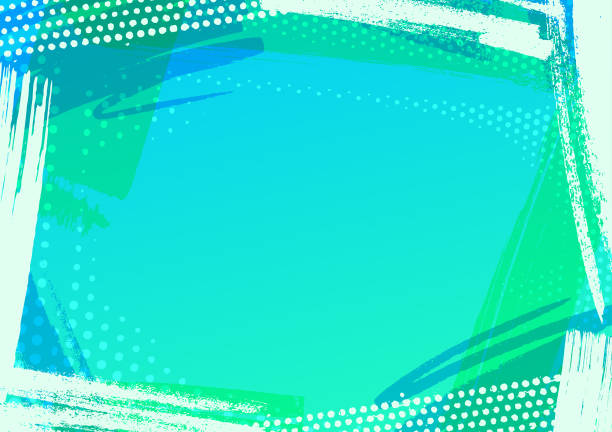 Abstract blue pattern frame vector art illustration