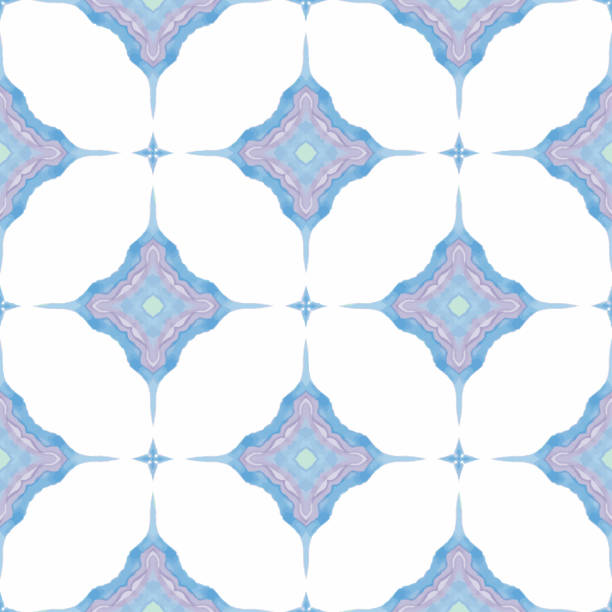 abstract blue, pink, white and green repeating seamless pattern diamonds vector art illustration