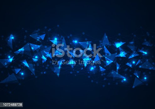 istock Abstract blue polygonal background with connecting dots and lines. Data and technology concept 1072489728