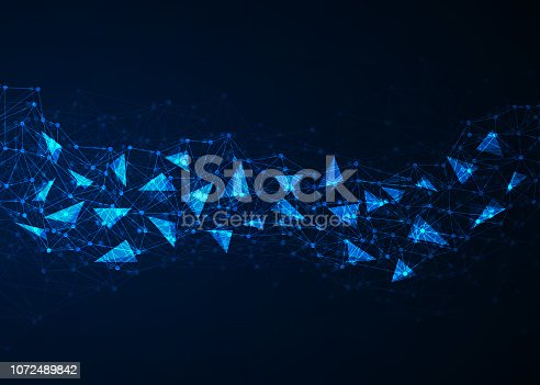 istock Abstract blue polygonal background with connecting dots and lines. Data and technology concept 1072489842