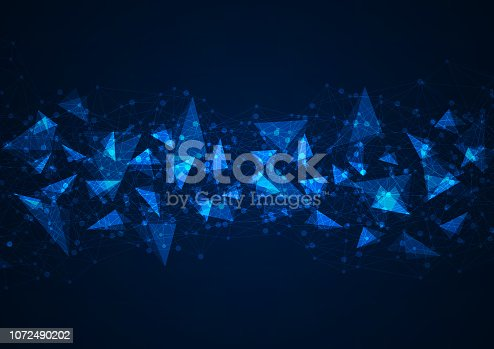istock Abstract blue polygonal background with connecting dots and lines. Data and technology concept 1072490202