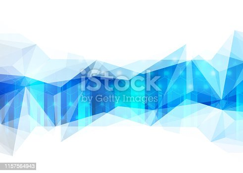 istock Abstract blue polygonal background with connecting dots and lines. Data and technology concept 1157564943