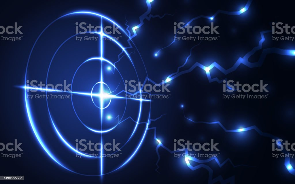 Abstract blue radar, target, shooting range with lightning digital technology concept. royalty-free abstract blue radar target shooting range with lightning digital technology concept stock vector art & more images of abstract