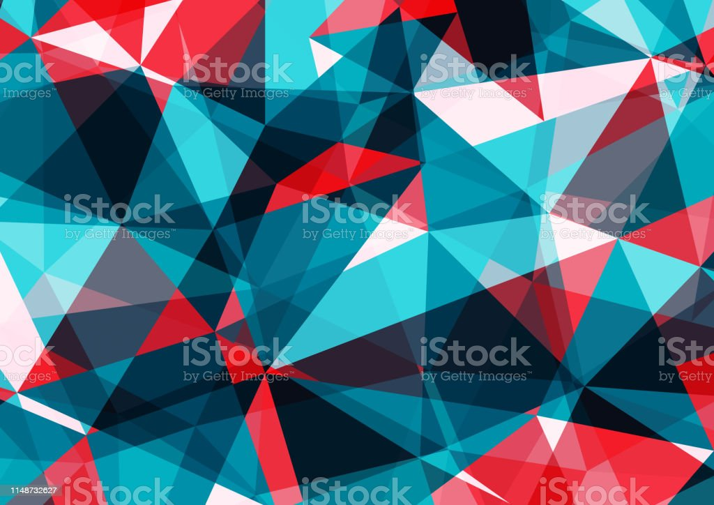 Abstract Blue Red And White Geometric Vector Background