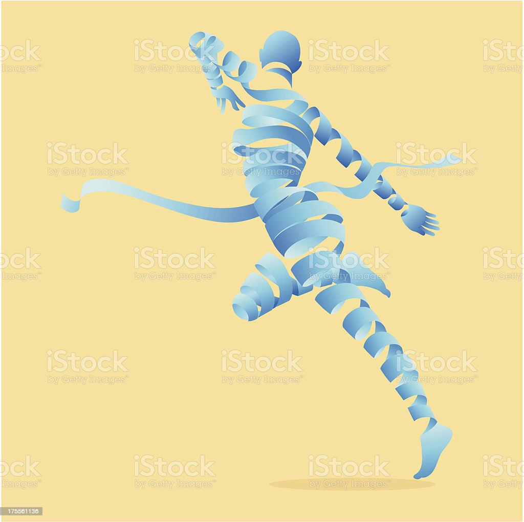 Abstract blue ribbon figure dancing royalty-free stock vector art