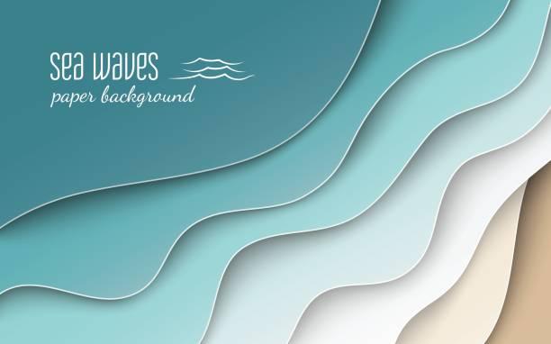 Abstrakte blauen Meer und Strand Sommer Hintergrund mit Bogen Papier Wellen und Meeresküste abgeschnitten mit Schnittmaske für Banner, Poster oder Website-Design. Scherenschnitt-Stil, Raum für text – Vektorgrafik