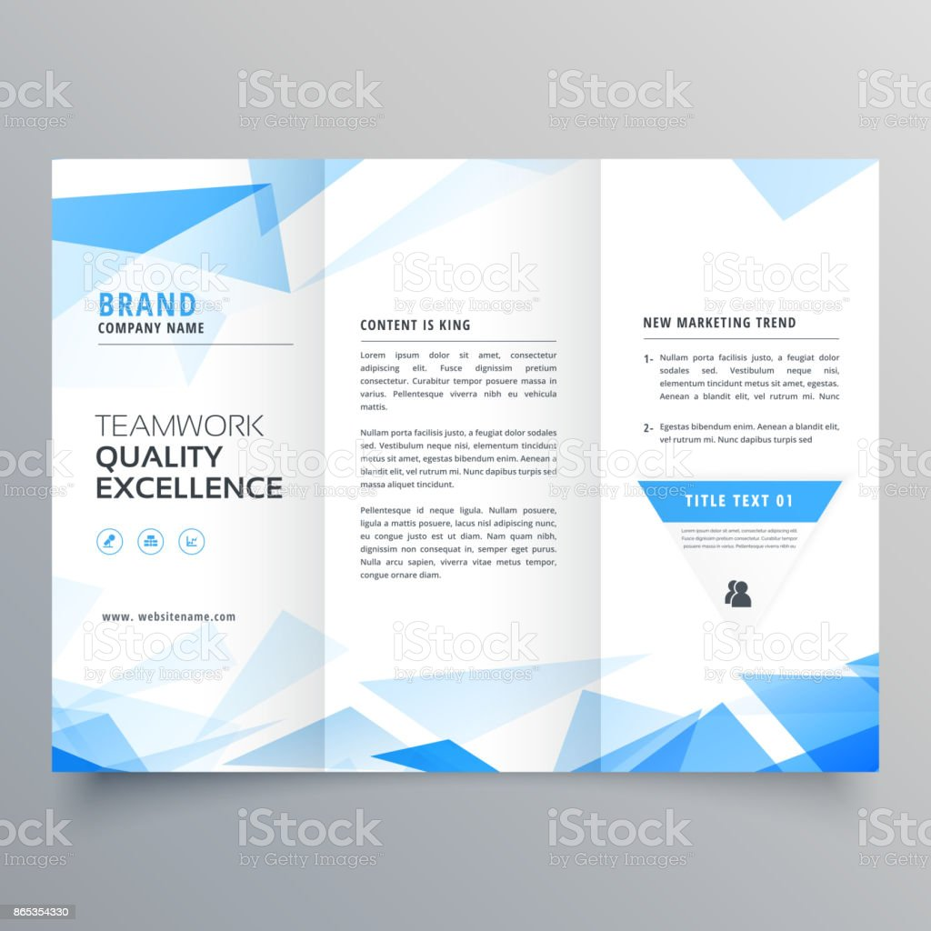 abstract blue shape trifold business brochure design vector art illustration