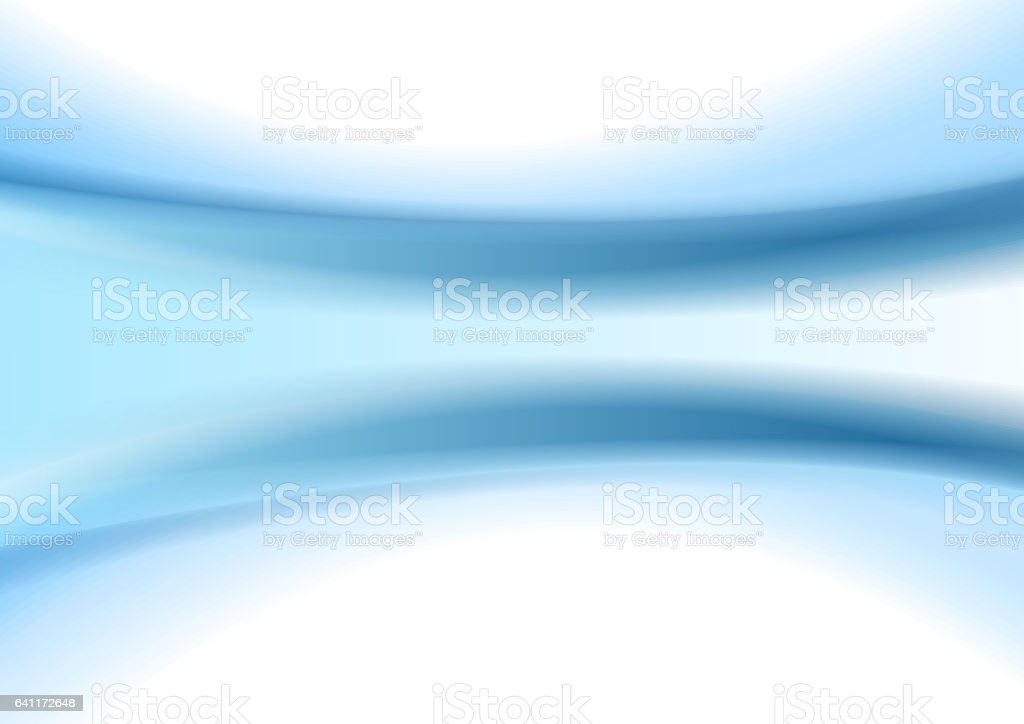 Abstract blue smooth blurred waves background vector art illustration