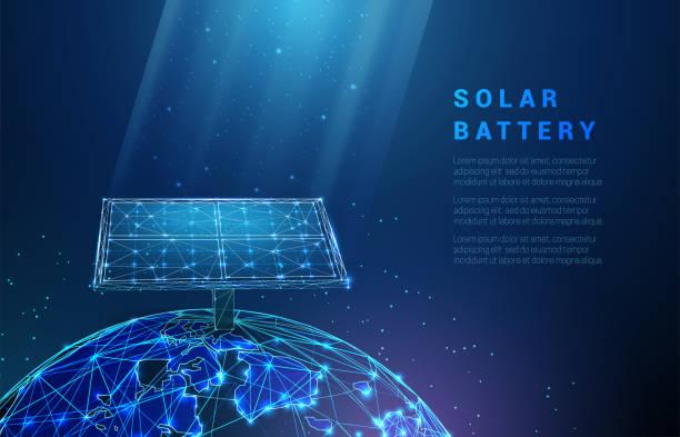 ilustrações de stock, clip art, desenhos animados e ícones de abstract blue solar battery on planet earth, panel, renewable energy - wireframe solar power