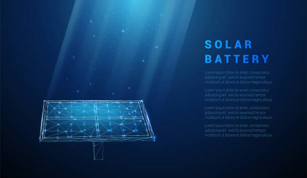 ilustrações de stock, clip art, desenhos animados e ícones de abstract blue solar battery, solar panel, renewable energy - wireframe solar power