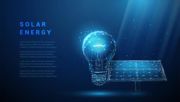 ilustrações de stock, clip art, desenhos animados e ícones de abstract blue solar panel with light bulb - wireframe solar power