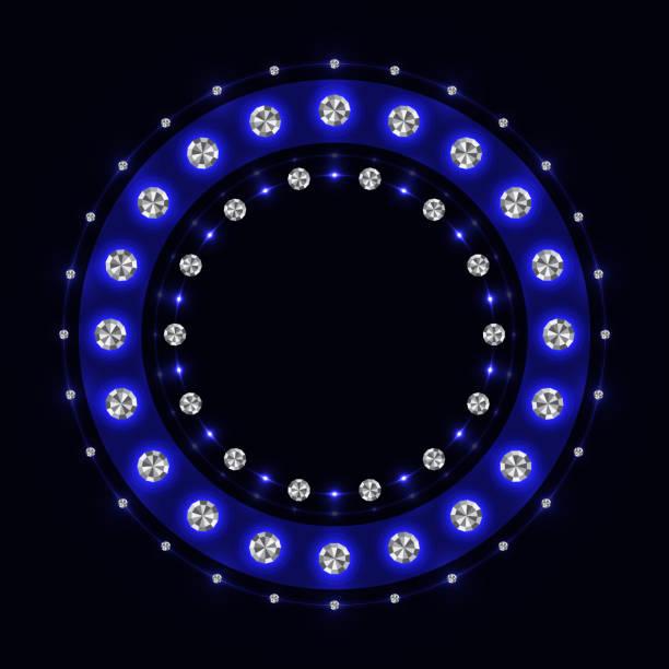 bildbanksillustrationer, clip art samt tecknat material och ikoner med abstrakt blå gnistrande ring - wheel black background