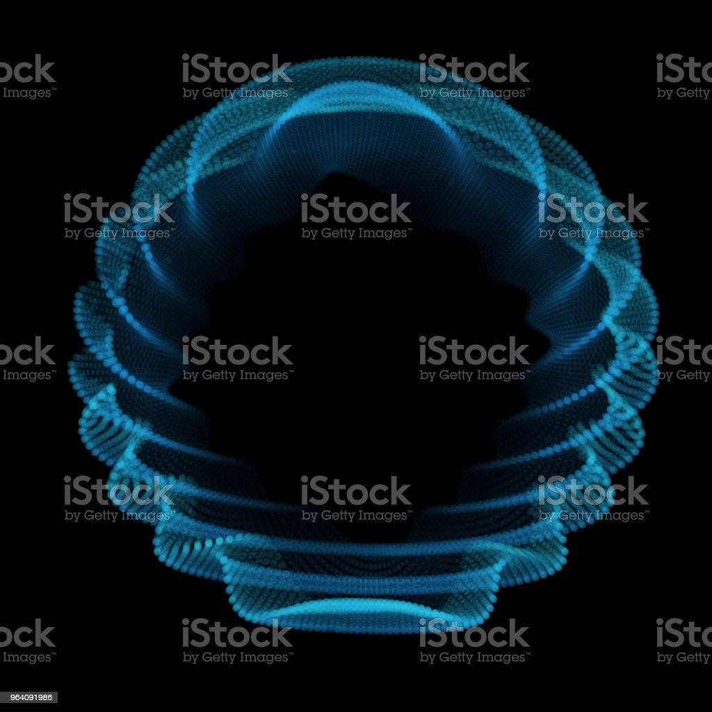 Abstract blue sphere of noise points array. Grid vector illustration. Technology digital noise of data points. Spherical 3d waveform. - Royalty-free Abstract stock vector