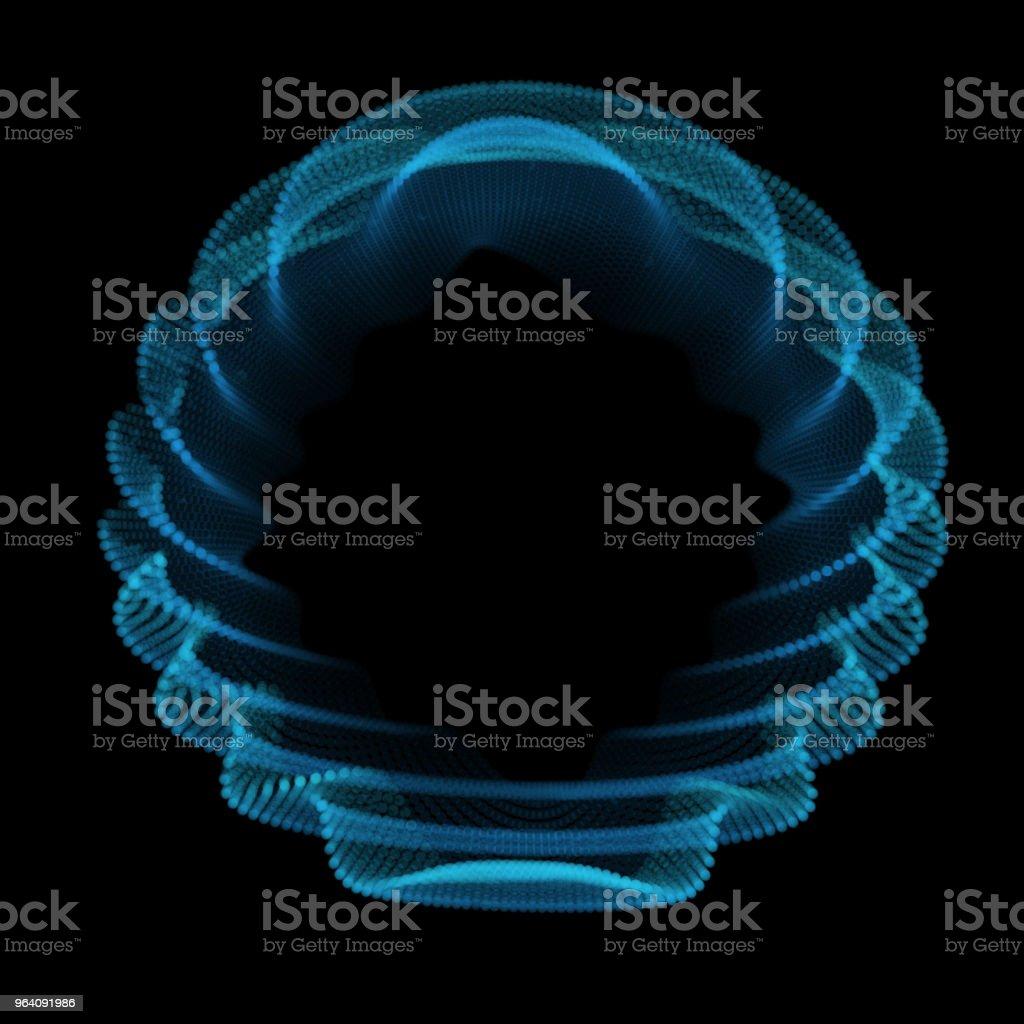 Abstract blue sphere of noise points array. Grid vector illustration. Technology digital noise of data points. Spherical 3d waveform. vector art illustration