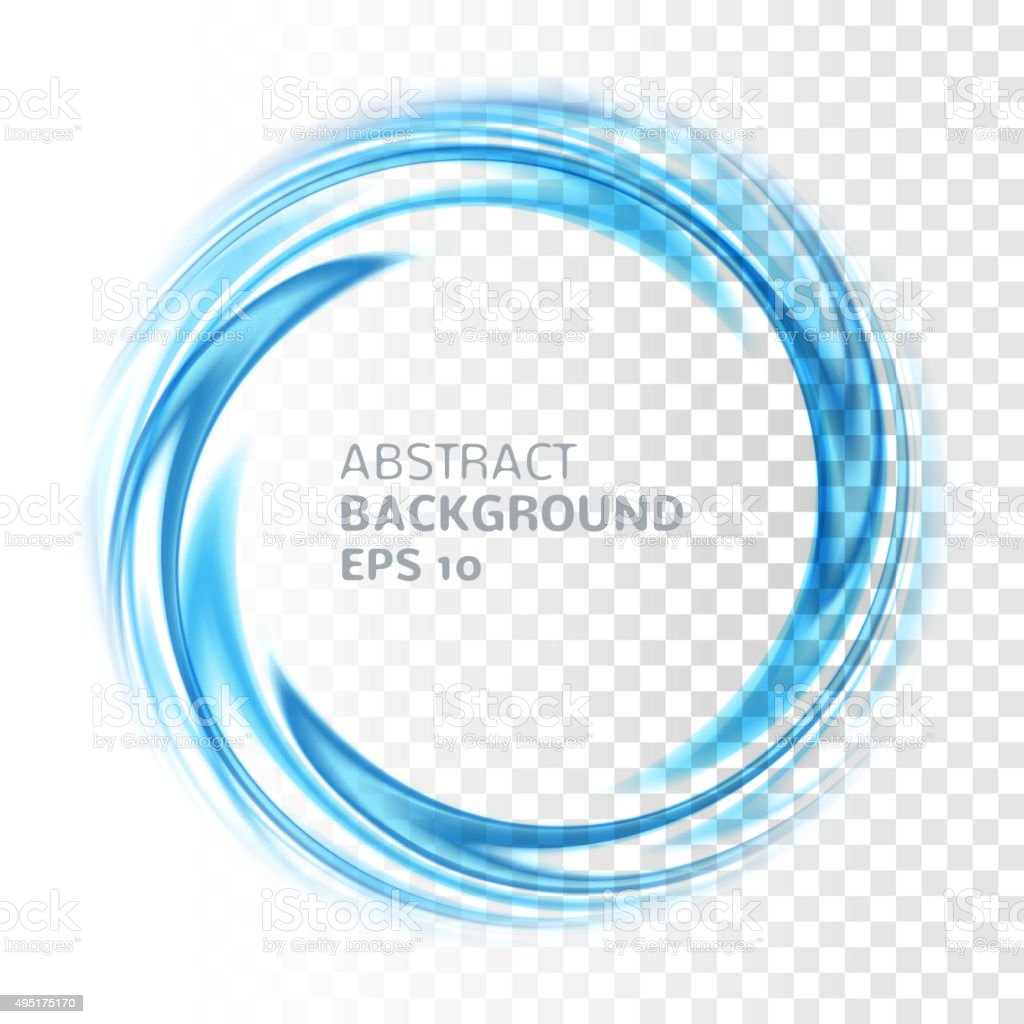 Abstract blue swirl circle on transparent background vector art illustration