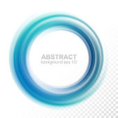 Abstract transparent blue swirl circle. Round frame or banner with place for your content