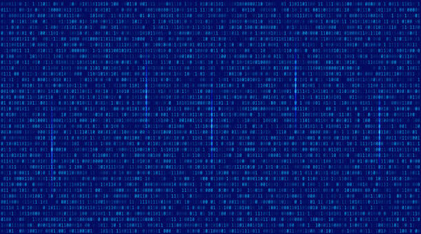 Abstract Blue Technology Background. Binary Computer Code. vector art illustration
