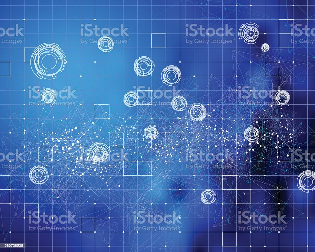 abstract blue technology touch screen background vector art illustration