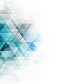 Abstract blue triangles geometric background. Vector illustration with place for your content.