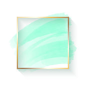 istock Abstract Blue Turquoise Colored Paint Brush Stroke with Gold Frame Isolated on White Background. Design Element for Greeting Cards and Labels. Abstract Modern Blue Turquoise Colored Background. 1194151013