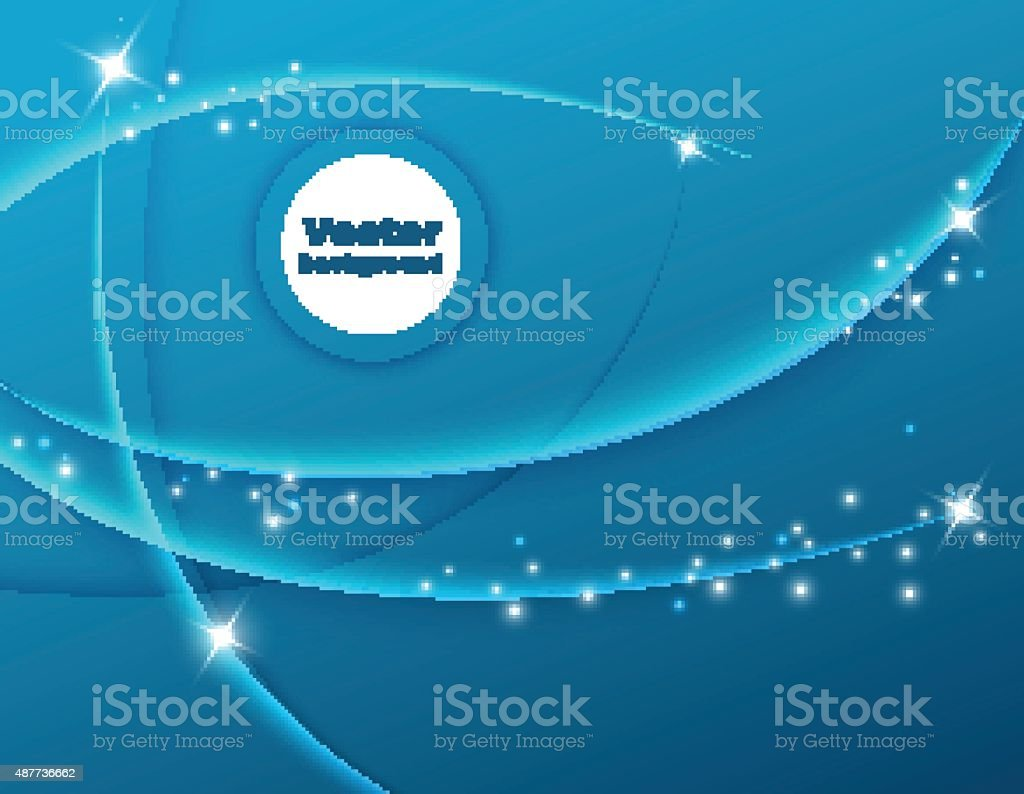 Abstract blue vector background with smooth waves and glittering lights vector art illustration