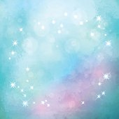 Abstract blue vector watercolor Christmas background with subtle grunge texture and stars