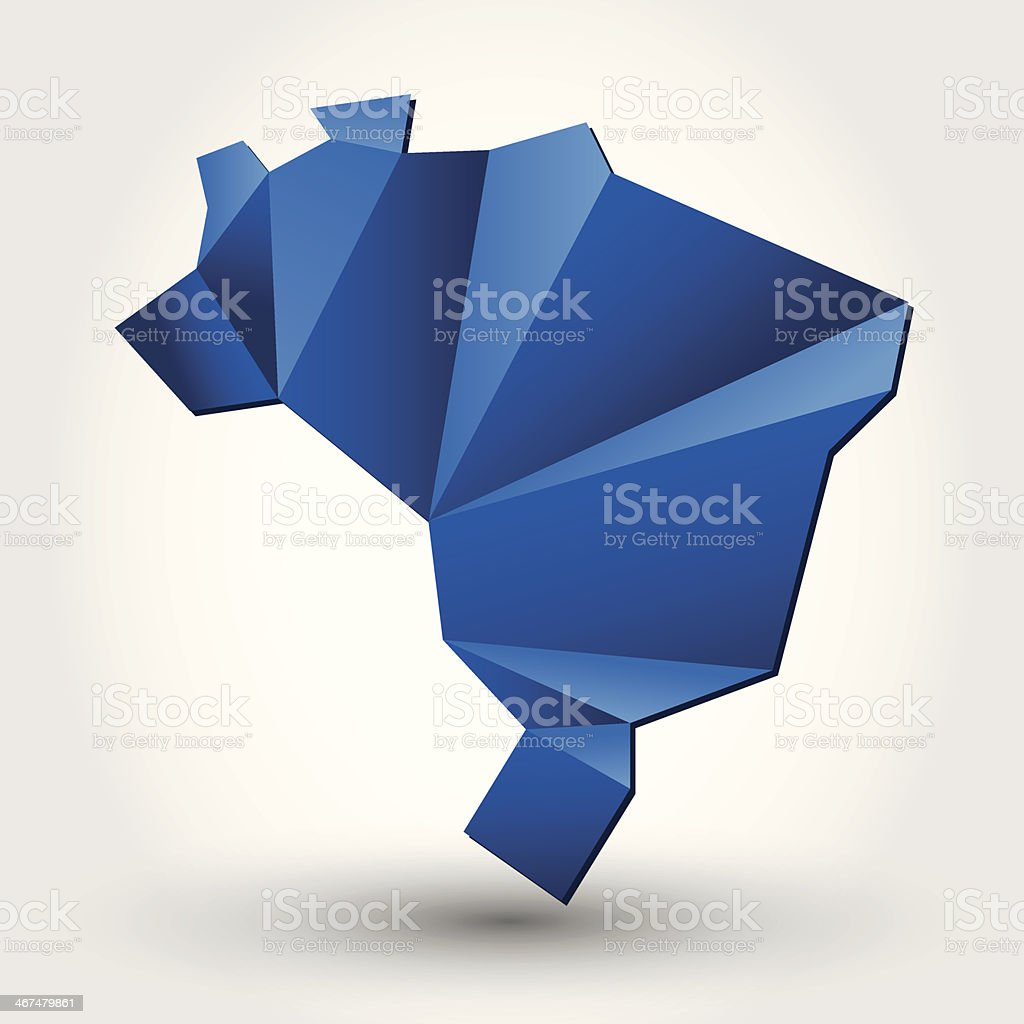 Abstract blue vector of Brazilian map on white background royalty-free stock vector art