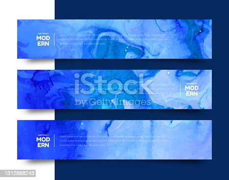 istock Abstract blue vector watercolor background for your design 1312888243