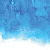 Abstract blue vector watercolor background. Aquarelle backdrop. Hand drawn watercolor stain.