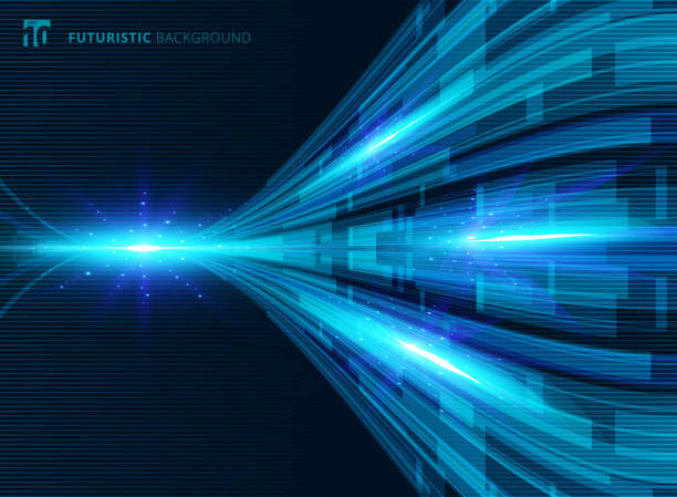 Abstract blue virtual technology concept futuristic digital perspective background Abstract blue virtual technology concept futuristic digital perspective background with space for your text. Vector illustration transfer image stock illustrations