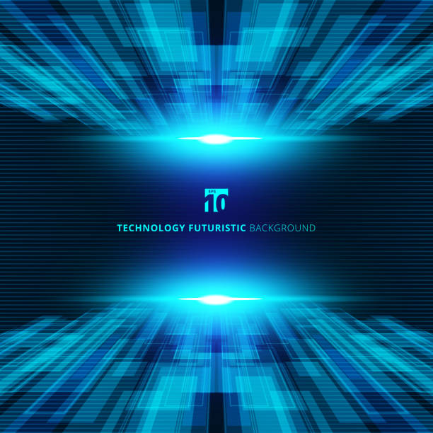Abstract blue virtual technology concept futuristic digital perspective background with space for your text. Abstract blue virtual technology concept futuristic digital perspective background with space for your text. Vector illustration transfer image stock illustrations