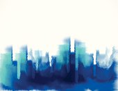 abstract blue watercolor style city building pattern background for design.(ai eps10 with transparency effect)