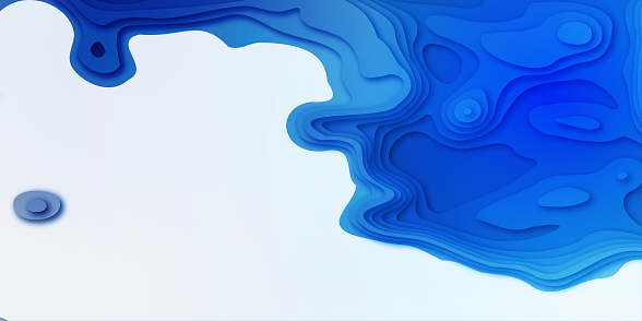 3D abstract blue wave background with paper cut shapes. Vector design layout for business presentations
