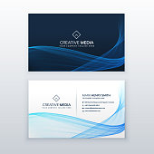 abstract blue wave business card vector design