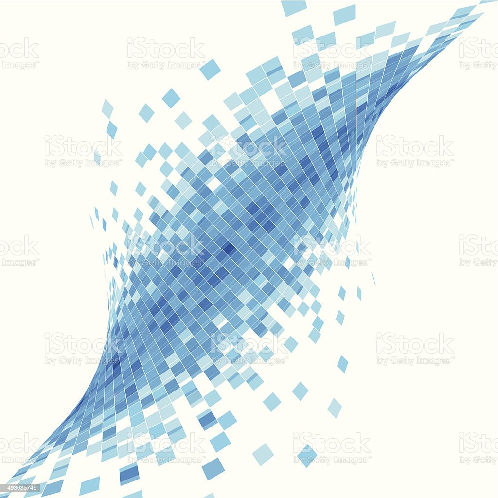 abstract blue wave check technology background vector art illustration
