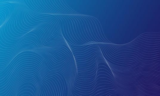 Onda azul abstracta con líneas creadas con la herramienta Fusión