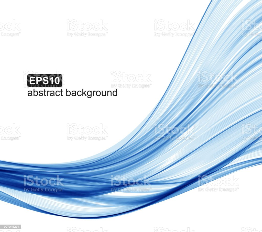Abstract blue waves background. vector art illustration