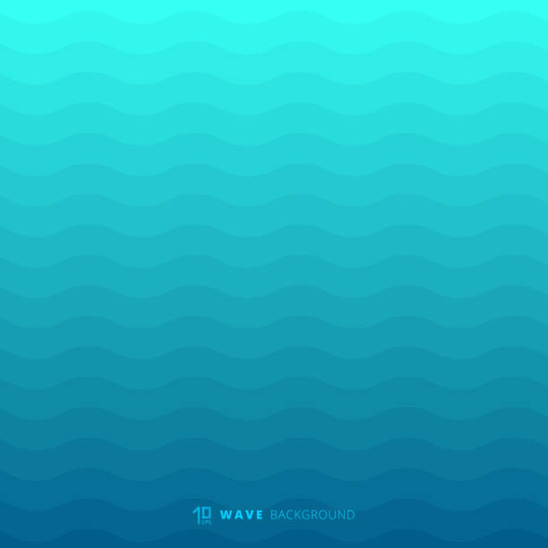 Abstract blue waves lines underwater background and texture Abstract blue waves lines underwater background and texture. Wavy stripes pattern. Rough surface. Vector illustration sea stock illustrations
