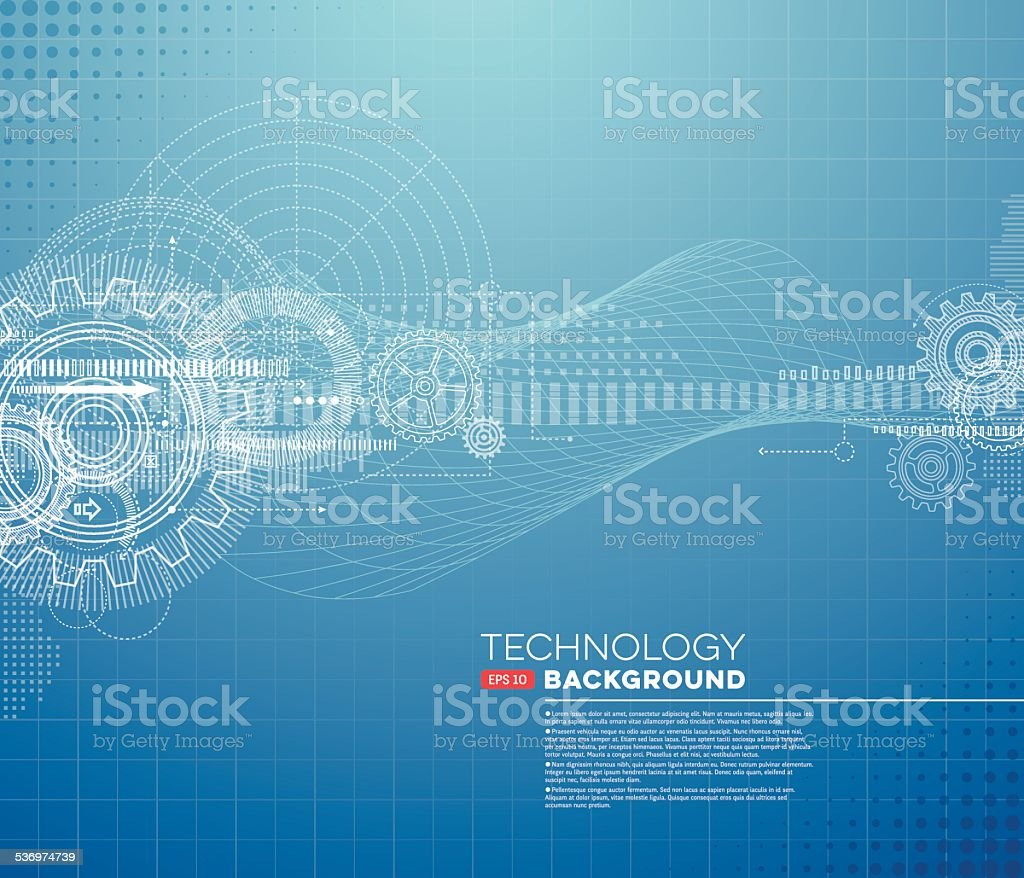 Abstract Blueprint Background vector art illustration