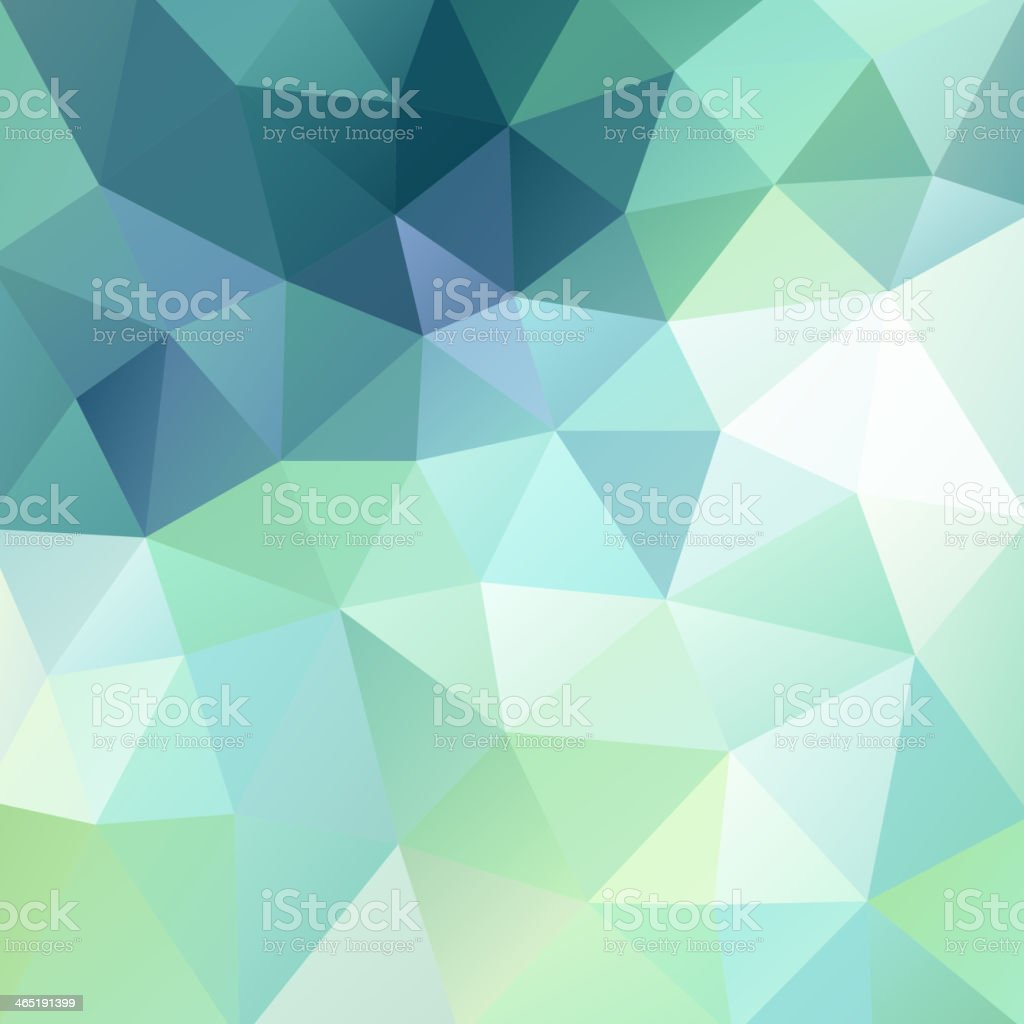 Abstract blues and greens triangular background vector art illustration