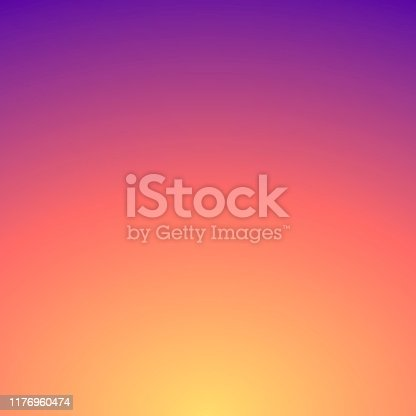 Modern and trendy abstract background with a defocused and blurred gradient, can be used for your design, with space for your text (colors used: Yellow, Orange, Red, Pink, Purple). Vector Illustration (EPS10, well layered and grouped), format (1:1). Easy to edit, manipulate, resize or colorize.