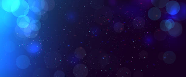 abstract blurred bokeh blue background with circles. christmas and new year holiday magic background with snow. copy space - bokeh stock illustrations