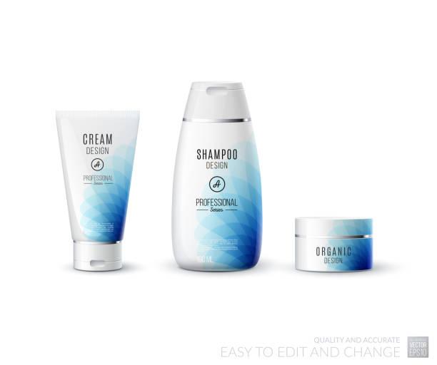 abstract body care cosmetic brand concept. tube cream, shampoo p - shampoos stock-grafiken, -clipart, -cartoons und -symbole