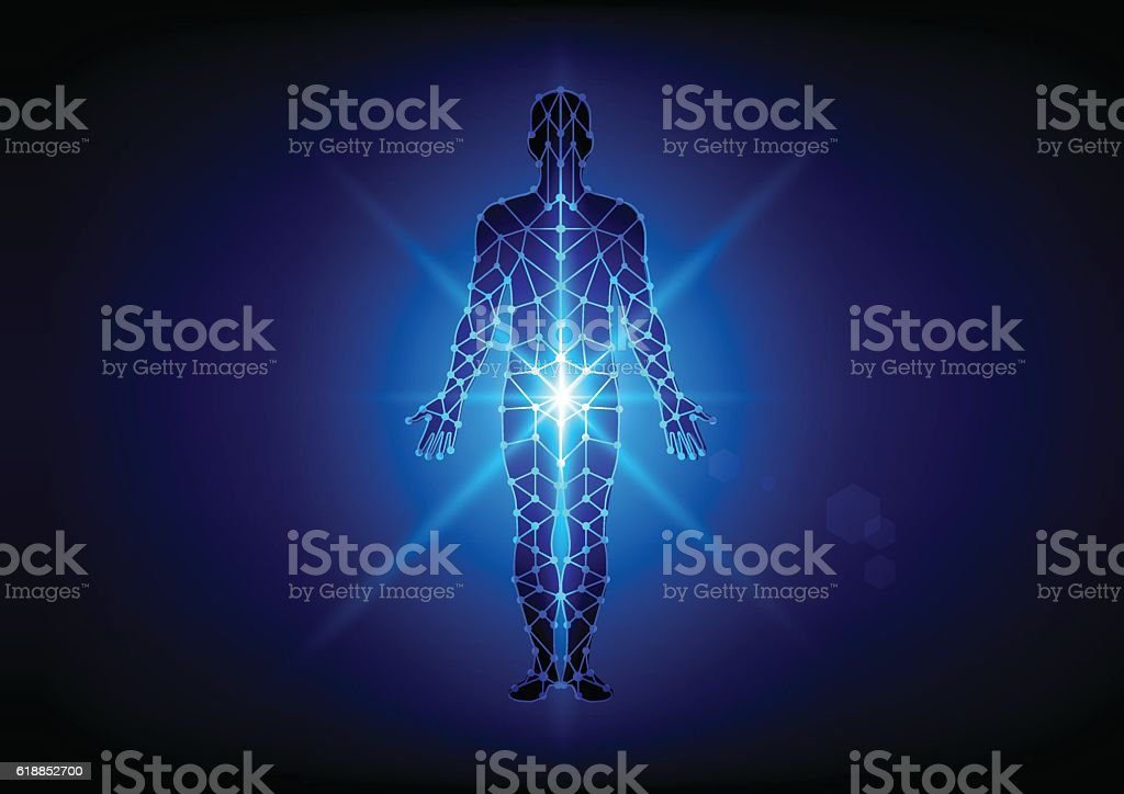 Abstract body with mesh on blue  background. illustration vector