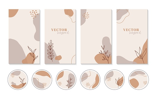 Abstract boho backgrounds and highlights icons for instagram stories. Set of vector vertical minimal cover templates for social media design